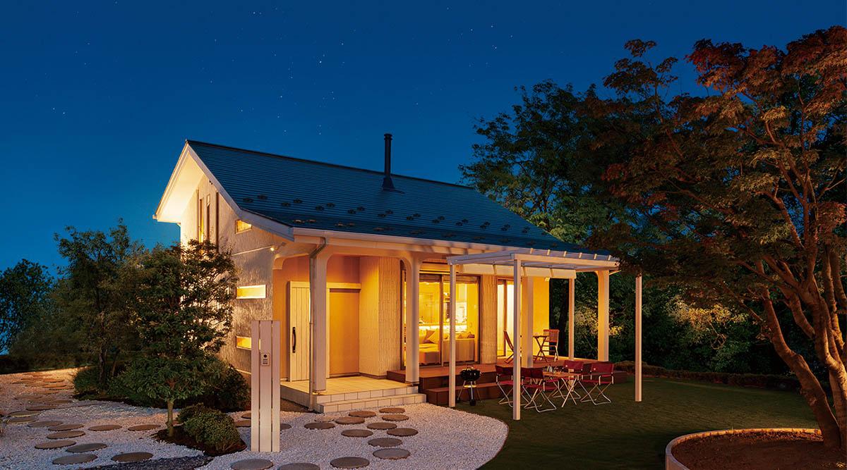 夢ハウスの木のひらやの夜の風景